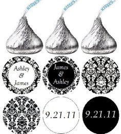 Personalized Wedding Hershey Kiss Stickers  by customprintgallery, $4.50