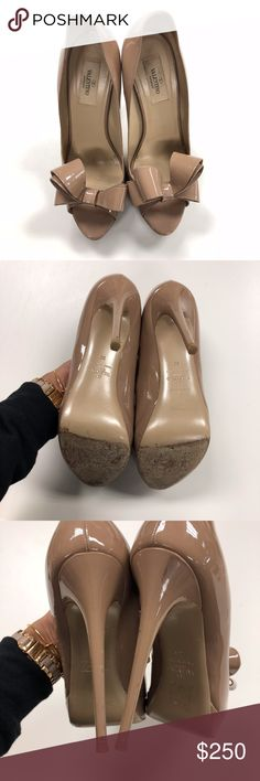 Valentino Bow Heels Valentino Bow heels! In good condition but there are some scuffs on the heel itself and some marks. Please review all pictures. Valentino shoes tend to run a 1/2 size smaller. Size 39. Valentino Garavani Shoes Heels