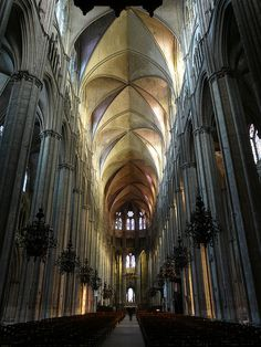 Great Hall (sans chandeliers and pews) Saint-Etienne Cathedral in Bourges