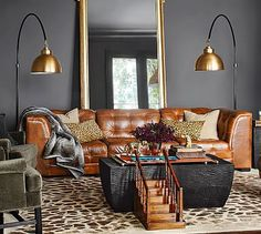 Ken Fulk Quilted Leather 3-Piece Sofa #potterybarn $5,497