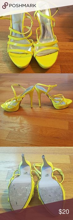 Neon Yellow Strappy Sandles. Neon Yellow Strappy Sandles. Typical use. See last 3 pictures. Not very visable at all. D Shoes Heels