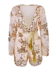 Amazon.com: BIUBIU Women's Sexy Deep V neck Gold Sequin Mesh Playsuit Jumpsuit Rompers S-XL: Clothing