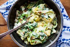 Zucchini noodles with yogurt, peas and chili flakes-reduce olive oil and fairly healthy