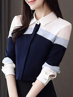 Turn Down Collar Color Block Short Sleeve Blouse Shop the latest women's clothes and keep your style game strong with the freshest threads landing daily. Stylish Dresses, Stylish Outfits, Trendy Fashion, Korean Fashion, Cheap Fashion, Fashion 2020, Fashion Online, Girls Fashion Clothes, Fashion Outfits