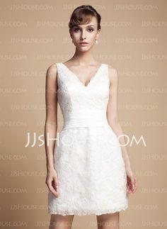 Vestidos de novia - $173.29 - Corte recto Escote en V Corto Satén De encaje Vestidos de novia con Fajas (002011935) http://jjshouse.com/es/Corte-Recto-Escote-En-V-Corto-Saten-De-Encaje-Vestidos-De-Novia-Con-Fajas-002011935-g11935