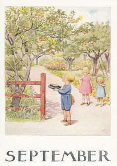 Set of 12 new single postcards by Elsa Beskow, 12 months, cute | eBay