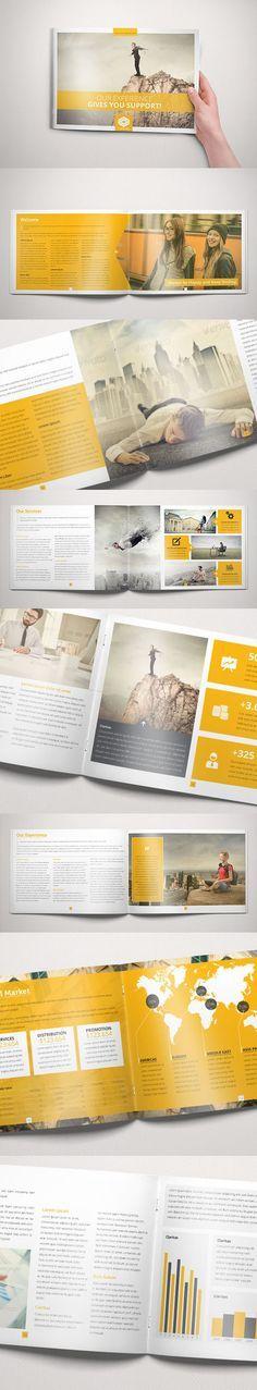 Business Brochure Indesign Template, mise en page, aplat, jaune, color block, photo, magazine, rapport activité