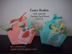 Another Envelope Punch Board project. Easter baskets using In Colors and the stamp set For Peep's Sake. For measurements and product info go to my . Paper Gifts, Paper Cards, Easter Crafts, Holiday Crafts, Envelope Punch Board Projects, Envelope Maker, Box Maker, Scrapbook Paper Crafts, Scrapbooking