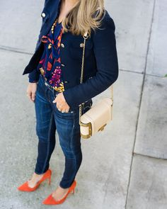 Tweed jacket, bow blouse, dark denim, orange heels