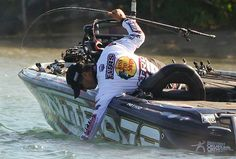 Edwin Evers on the water on day two. 2013 Elite Series Plano Championship Chase on Lake St. Clair/Detroit River in Detroit, Mich. Nitro Boats, Fishing Tournaments, Bass Fishing, Detroit, River, Fishing, Rivers