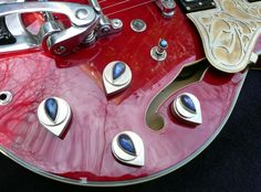Custom knobs with labrodorite stones on an ES 335, The Paisely, by artist Louis Farkovitz