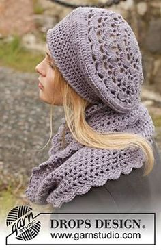 """Victoriana - Set consists of: Crochet DROPS beret and neck warmer in """"Karisma"""". - Free pattern by DROPS Design Crochet Adult Hat, Bonnet Crochet, Crochet Cap, Crochet Beanie, Crochet Scarves, Crochet Shawl, Crochet Clothes, Free Crochet, Knit Cowl"""