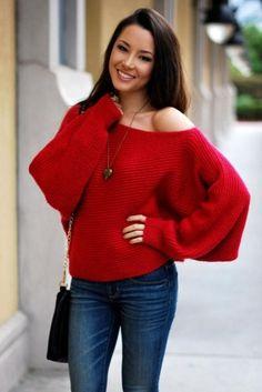 off shoulder red sweater
