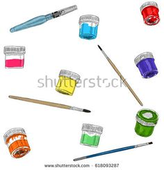 Vector illustration of artist creative set acrylic and brushes