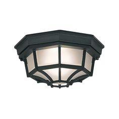 "Designers Fountain 2067-BK 1 Light 10"" Flush Mount Marine Style Lantern Black Outdoor Lighting Ceiling Fixtures Flush Mount"