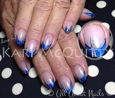 Blue metal sculpted gel nails.  Done by Kari at All About Nails & Training.  www.allaboutnails.org
