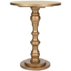 Marnie Accent Table ($229) ❤ liked on Polyvore featuring home, furniture, tables, accent tables, gold, pedestal table, gold accent table, gold table, pedestal accent table and gold furniture