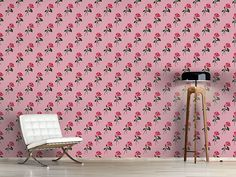 Design #Tapete Pinke Rosen Cottage, Curtains, Shower, Prints, Design, Self Adhesive Wallpaper, Pink Roses, Wall Papers, Simple