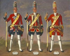 David Morier (1705?-70) Grenadiers, 7th Royal Fusiliers, 8th King's and 9th Regiments of Foot, 1751  c. 1751-60  Oil on canvas | 40.9 x 50.0 cm (support, canvas/panel/str external) | RCIN 405580