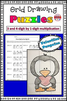 These grid drawings are a fun and creative way for your kids to practice their multiplication skills! Kids simply find the box that corresponds with the correct multiplication answer and transfer it into the square on the blank grid. Each page leads to a different picture of a valentine penguin to color.  This set includes three pages of 3-digit by 1-digit practice, and three pages of 4-digit by 1-digit practice. Multiplication Grid, Multiplication Activities, Math Worksheets, Math Resources, 5th Grade Math, Second Grade, Kinesthetic Learning, Love Teacher, Little Learners