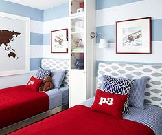 Adore this mix of paint and pattern in a shared boys room via bhg.com