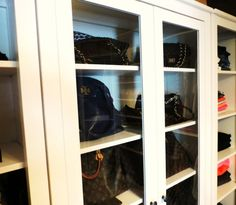 Wonderful Awesome White Painted Solid Wood Purse Storage Cabinet With Swing Glass  Doors As Well As Purse