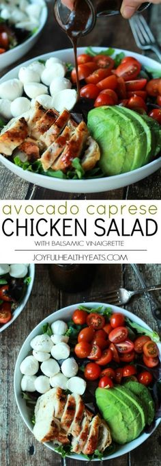 A Quick Easy Dinner for two, Avocado Caprese Chicken Salad topped with a light Balsamic Vinaigrette. The perfect Salad recipe for summer that only takes 15 minutes! | joyfulhealthyeats... #recipe