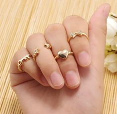 2016 Knuckle Ring Gold/Silver Plated Crystal Rhinestone Love Heart Bow Star Key Shining Beautiful Lovely Ring Set Midi Finger Rings Diamond Rings Vintage Engagement Rings From Worldfashionoutlet, $1.12| Dhgate.Com