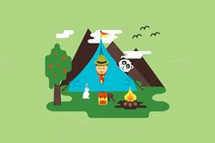Scout in tent - nature and friendly by MarioMovement on Creative Market