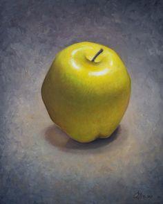 Yellow Apple Art Print Still Life Dining Room by LogicFreeArt, $14.00