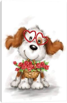 Cute dog wearing heart shaped eyeglasses with roses, Happy Valentine's card Happy Mother's Day Card, Happy Mothers Day, Happy Valentines Day Mom, Baby Animal Drawings, Cute Animal Illustration, Animal Illustrations, Happy Birthday Mom, Cute Funny Dogs, Mom Cards