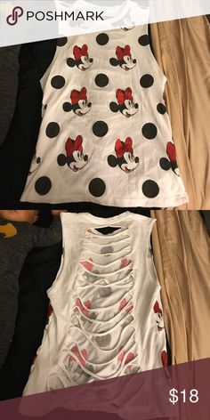 Minnie Mouse tipped back top Never worn. Super cute with leggings Disney Tops Muscle Tees