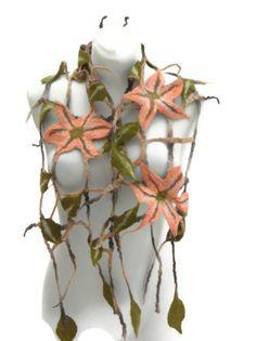 Grid felted scarf /Mesh scarf / floral scarf/ spring par Marywool, $42.00