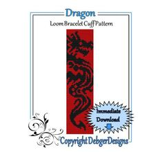 Bead Pattern Loom(Bracelet Cuff)-Dragon