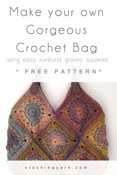 This is a simple-to-make crochet bag composed of gorgeous sunburst granny squares made using Cleckheaton California 100% wool in Mauve Glow and a 4mm hook. I originally started crocheting these squares just to see how the colours in the yarn would work to