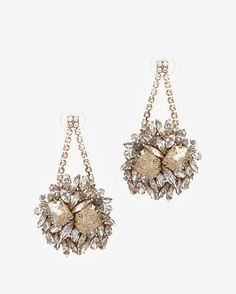 Erickson Beamon Gold Digger Mesh Stone Earrings
