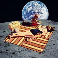 """Lunar Vacation"", #collage. Store link on my profile. #collageart #art #arte #illustration #vintage #dope #surreal #surrealism #artistic #artsy #rad #cool #cutandpaste #dada #moon #vacation #dmt #psychedelic #sunbath #lsd #shrooms Eugenia Loli"