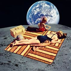 """""""Lunar Vacation"""", #collage. Store link on my profile. #collageart #art #arte…"""
