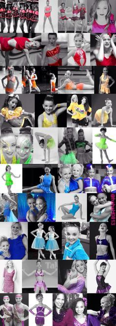 This is a Dance Moms color collage including: Brooke Hyland, Chloe Lukasiak, Kalani Hilliker, Kendall Vertes, Mackenzie Ziegler, Maddie Ziegler, Nia Frazier, and Paige Hyland.