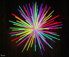#DIY glow stick centerpiece - once made, it's easy to remove glow sticks & add new ones for the next party!