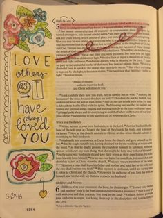 """Eph 5:1-2  """"Follow God's example, therefore, as dearly loved children and walk in the way of love, just as Christ loved us and gave himself up for us as a fragrant offering and sacrifice to God.""""  Inspiration by Melissa Garza-Allen. Prismacolor pencils, white Sharpie and Micron pen.  #Biblejournaling #illustratedfaith"""