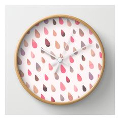 Opal Drops - Dawn Colorway Wall Clock ($30) ❤ liked on Polyvore featuring home, home decor, clocks, wall clocks, round wall clock, abstract clock, battery wall clock, battery operated clock and battery powered wall clock