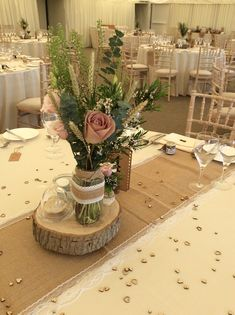 Lace and hessian table runners for hire each Log base Centrepiece wooden slice for hire each Many available of each Weddings Cambridgeshire Outdoor Wedding Decorations, Rustic Wedding Centerpieces, Wedding Flower Arrangements, Centrepieces, Spring Wedding, Our Wedding, Wedding Ideas, Hessian Table Runner, Table Runners