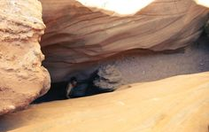 Looking down at the exact spot Aron Ralston was pinned by a large chalkstone and forced to cut off his own arm.