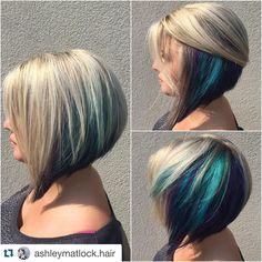 """#blue #purplehair #bluehair #turquoise #alinebob #shorthair #platinum #hair #hairart #haircut #hairenvy #hairpost #hairpainting #hairtrends #color…"""