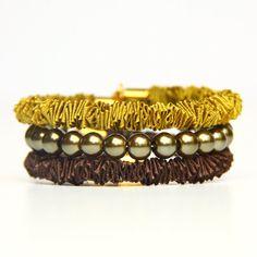 Bracelet stack in mustard and brown, 2 bangle bracelets and a bead bracelet