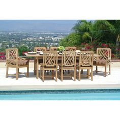 Outdoor Willow Creek Designs Monterey Teak 9 Piece Rectangular Patio Dining Set with Expansion Table