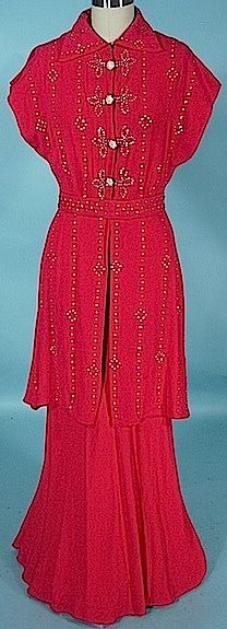 Beautiful 1930s: merlot dress and rhinestone-covered jacket. Here, we see the dress with the jacket over the top.