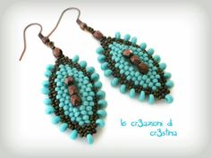 Seed bead jewelry Italian but you can have English subtitles ~ Earrings with peyote + herringbone ~ Seed Bead Tutorials Discovred by : Linda Linebaugh Seed Bead Jewelry, Seed Bead Earrings, Beaded Earrings, Beaded Jewelry, Jewelry Patterns, Beading Patterns, Earring Tutorial, Diy Tutorial, Bijoux Diy