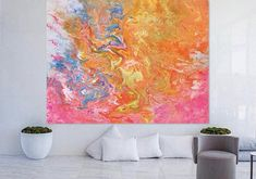 THIS IS LARGE CANVAS FINE ART GICLEE PRINT. IT WILL ARRIVE READY TO HANG. TITLE: FELT SPRING SIZE: 30X40 48X60 60X60 SHIPPING: The painting will be shipped and packed professionally. In order to protect your painting l will personally pack your painting with great care using high quality, shipping industry approved packing materials.